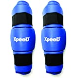 XpeeD (XP 1205)MMA Muay Thai Taekwondo/ Kick Boxing Protective Martial Arts Training Shin Protection Sparring Kick Sports Shin Guard Free Size Blue P.U Material Made