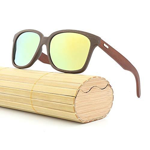 Bambus Beine Sonnenbrille Brille männer Frauen Klassische Holz Farbe Film Retro Sonnenbrille Brille (Color : Grün, Size : Kostenlos)