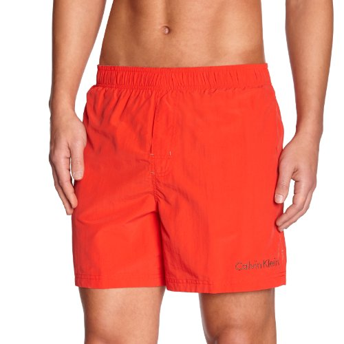 Calvin Klein Underwear - Medium Drawstring - Short de Bain -  Logo - Homme Rouge (Fiery Red)