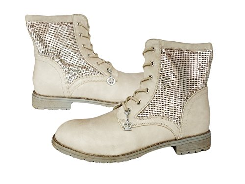 La Loria Damen Schnürboots, Schnürer Boots Stiefeletten mit Strass - Creme-Silber (Mokassin Handmade Kinder)