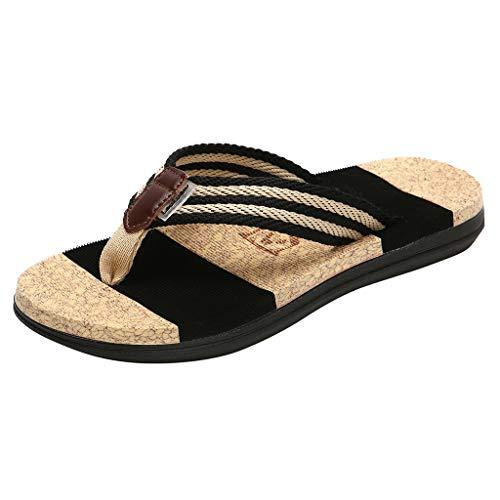 Zehentrenner Herren Damen,ABsoar Freizeitschuhe Mode Hausschuhe Casual Sommerschuhe Flache Flip Flops Männer Hausschuhe Strand Gestreiften Schuhe für Paare (Schwarz, 41)