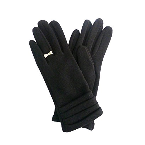 Black Velvet Bow (Vibrant Velvet Damen Handschuhe Gr. One size, Black With Gold Bow Ring)