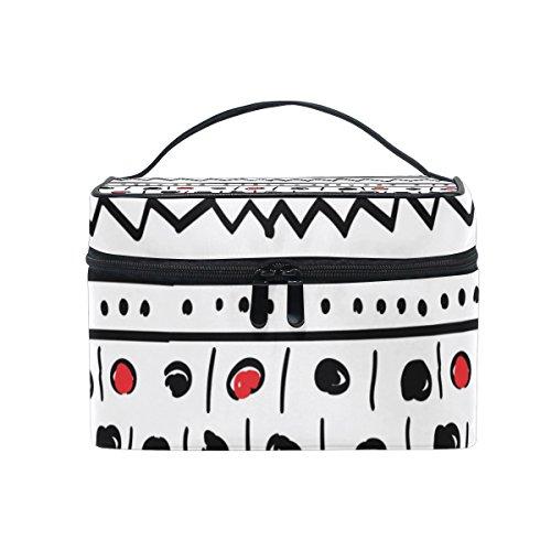 ALAZA Sac cosmétique drôle cercles dessinés à la main à rayures Maquillage Voyage cas de stockage Organisateur