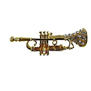 Brosche/Anstecknadel/Pin Straß Trompete Note Musik Konzert Instrument B184