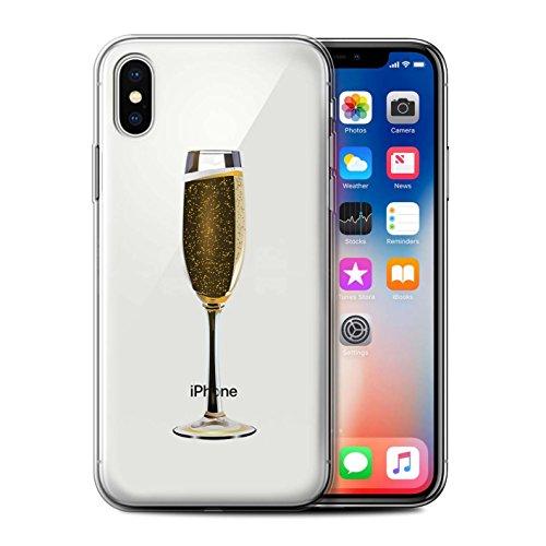 Stuff4 Gel TPU Hülle / Case für Apple iPhone X/10 / Pack 15pcs / Sass/Frech Kollektion Ein Glas Champagner