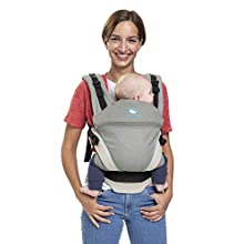manduca XT > Grey- Ocean < Baby Carrier with Adjustable Seat, 3 Position (Front Inward, Hip & Back), No Infant Insert Needed, Organic Cotton, Grows with Your Baby from Birth to Toddler (3.5-20kg)