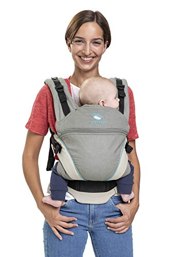 manduca XT Cotton > grey-ocean < Babytrage mit verstellbarem Steg, Babybauchtrage Hüft und Rückentrage, für Neugeborene & Kinder (3,5-20kg) grau/türkis