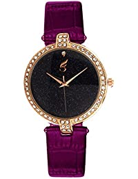 Style Feathers New Trendy Analogue Gold Dial Womens Watch-Sf-Shining