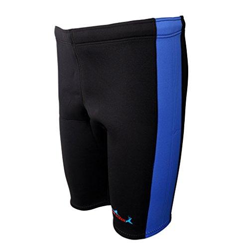 SunniMix 3 mm Pantalones Cortos de Neopreno Rafting Kayak Canoa Deporte - Azul y negro, M