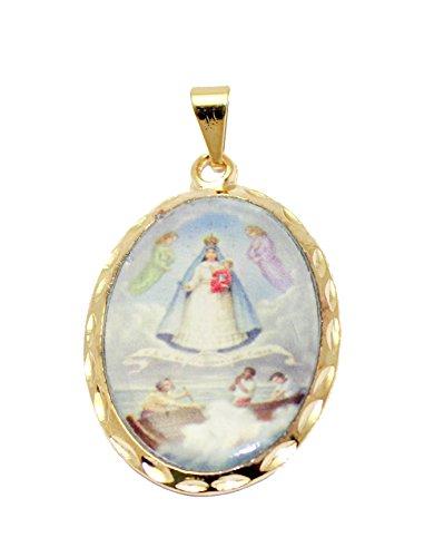 Diamantados of Florida Virgen de la Caridad del Cobre Colgante Medalla Chapado en Oro de 18K con Cadena de 20Pulgadas