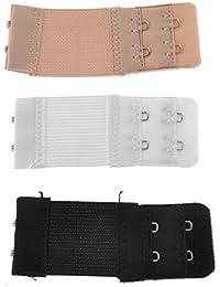 SUPVOX Extensor de lencería elástico 3pcs 3pcs 2 Filas 2 Ganchos Sujetador Correa de extensión para Las Mujeres (Negro + Blanco + Desnudo)