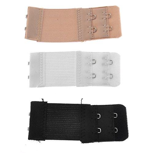Tinksky Élastiques Lingerie prolongateurs 2 crochets 2 lignes Extension bretelles de soutien-gorge 3pcs féminines dans différentes couleurs (noir blanc nu)