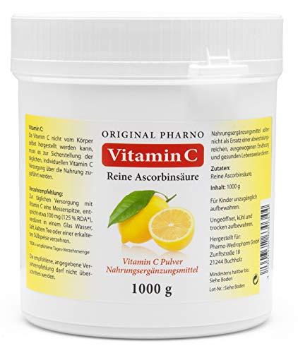 Vitamin C - Reine Ascorbinsäure - Apotheken Qualität 1 kg | 1 Dose mit 1.000g [Original-Pharno] (Original-spitzen-wasser)