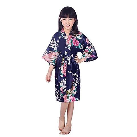 GL&G Chemises de nuit pour enfants Vêtements pour la maison Kimono Hommes et femmes Impression des animaux Pyjama en soie Robes de bain bleu foncé,Dark