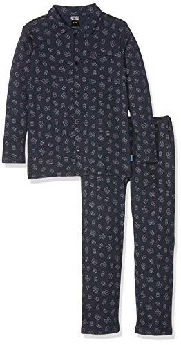 Schiesser Jungen Family Pyjama lang Zweiteiliger Schlafanzug, Blau (Nachtblau 804), 128
