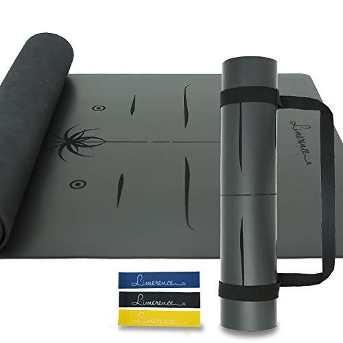 Limerence Premium Naturkautschuk Yogamatte mit PU-Oberfläche und Ausrichtungsmarkierungssystem Rutschfestes Umweltfreundlich Profi Yoga MatteTragegurt für Yoga Pilates-Extra Breit 185x68cm, 4mm -