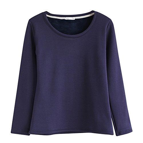 Tops T-shirt à Manches Longues Col Rond Pull Haut Femme Epaissir Toison Bleu foncé