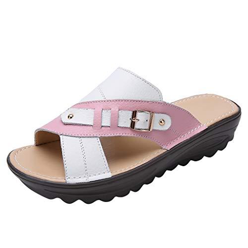 IEasOn Damen Wedges Sandalen Hausschuhe Strandschuhe Schlupfschuhe Laufschuhe, Pink (Rose), 37.5 EU Pink Strappy Kleid