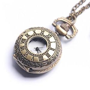 Collana vintage in ottone, orologio da tasca, numeri romani, catena lunga from 81stgeneration