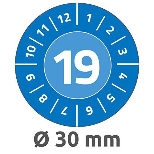 Avery Zweckform 6946 Prüfplaketten (80 Prüfaufkleber, abziehsichere Folie, Jahreszahl 2019, Ø 30 mm, im praktischen Block) blau