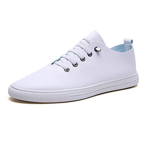 HILOTU Lässige Turnschuhe Für Herren, Sportschuhe Aus Mikrofaserleder Low-Top-Sneakers (Color : Weiß, Größe : 42 EU) Top 10 Herren Schuhe