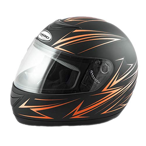 Saferide | Integralhelm Schwarz-Orange Matt XXL 63-64 cm Helm Motorrad Quad Damen Herren Roller Gesichtsschutz Klapphelm Erwachsene Regenschutz Sturzhelm Motorradhelm Moped Mofa