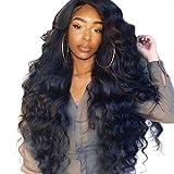 Battnot Haarteil für Damen Schwarze Lange, Frauen Perücke Kunsthaar Welle Lockige Gewelltes Gelocktes Trennungs-Haar Synthetische Haarperücken Afro, Hair Wigs for Black Women(65cm (26 Zoll), Schwarz2)