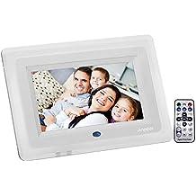 Andoer 7'' HD TFT-LCD Marco Digital de Fotos MP3 MP4 Movie Player con Escritorio Remoto Blanco