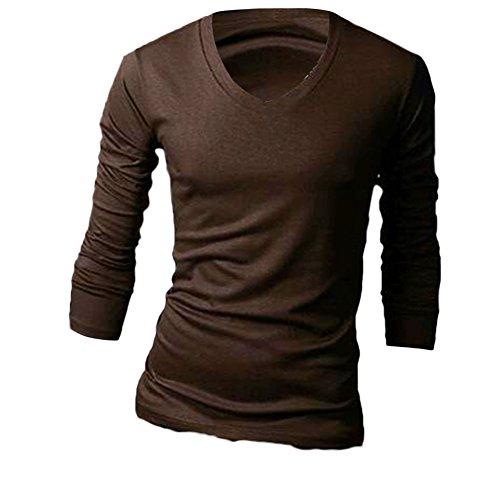 MEXI Herren V-Ausschnitt Slim Fit Langarm T-shirt Hemd lässig Oberteile Top M-XXL Stil 02-Kaffee