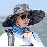 Doppio solare Fan cap maschio estate all'aperto Protezione solare Anti-UV Grandi cornicioni traspirante ombra Cappello da pescatore Cappellino sportivo, 6 colori Chapeau de ventilateur