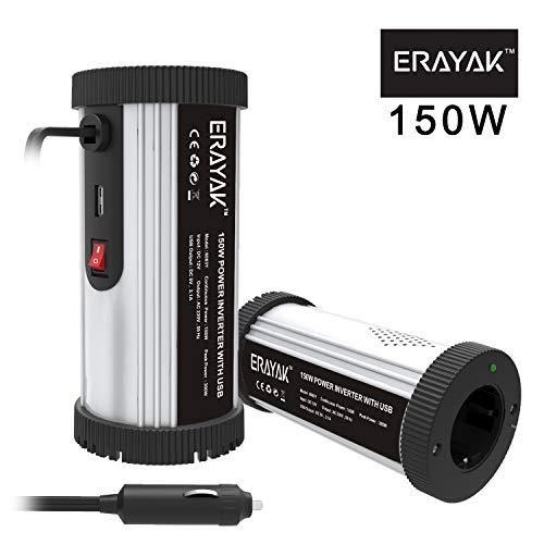 ERAYAK 150W Power Inverter per Auto DC 12V a 220V AC Trasformatore Inverter di Potenza Convertitore Multipla Protezione Inverter di Tensione con Porta USB 2.1A Spina per Accendisigari Auto