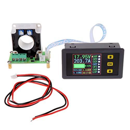 Xurgm LCD Digitalanzeige Voltmeter Amperemeter DC 0-90V 0-100A Strom Spannung Monitor-Power Energy-Multimeter mit integriertem Shunt Hall Sensor -