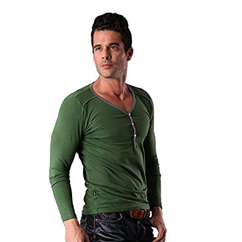 Men's Long Sleeves T-shirt V Neck Style Breathable Material Sizes M to XXXL CASUAL and FASHION (XXL,