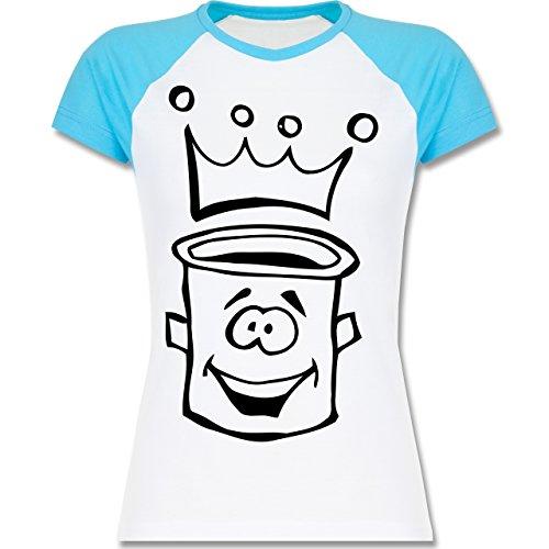 Küche - Küchentopf - zweifarbiges Baseballshirt / Raglan T-Shirt für Damen Weiß/Türkis