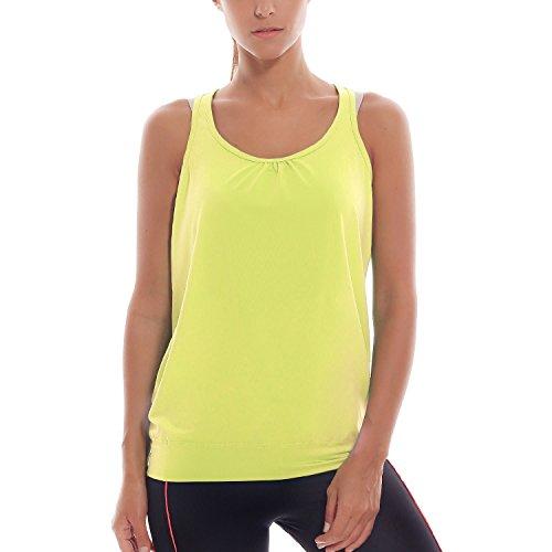 SYROKAN - Camisa Deportiva de Tirantes Para Mujer Verde amarillento S