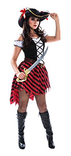 Karneval Klamotten Piratin Kostüm sexy Piratenkostüm Damen Kostüm Pirat INKL. Piratenhut Kostüm Karneval Damenkostüm Größe 40/42 (Captain Jack Sparrow Kostüme Für Kinder)
