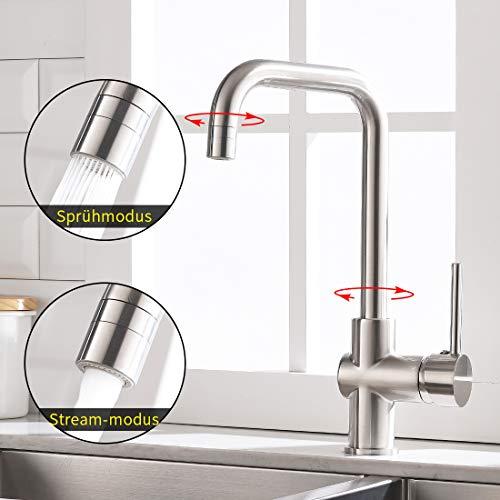 TIMACO Wasserhahn Küche Einhebelmischer Spültisch Armatur 360° Drehbar Küchenarmatur,Gebürstetes Nickel