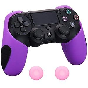 Pandaren® silikon dickere gälfte skin hülle Schutzhülle für PS4 controller (lila) x 1 + thumb grips aufsätze x 2