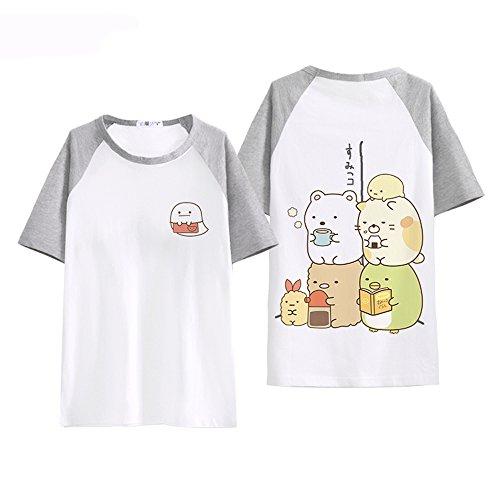 Kawaii Ecke Comic - Milch Seide Kurze ärmel - t - Shirt - Frauen (L, Grey) - Milch Seide