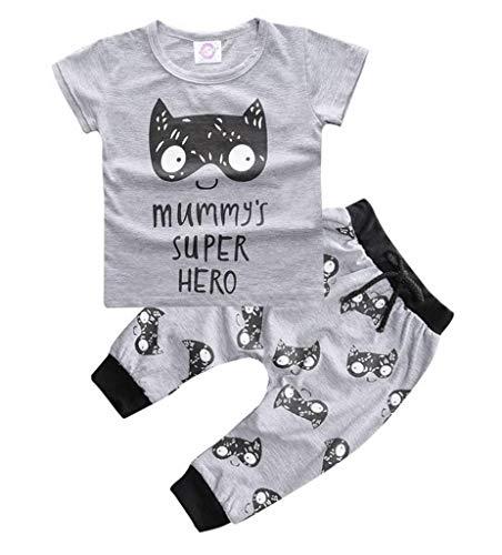YiyiLai YiyiLai Baby Kind Sommer Bequem Kurzarm Bekleidungsets Oberteil Shirt+Hosen Tops Shirt +Short Outfit Playsuit 60 Grau