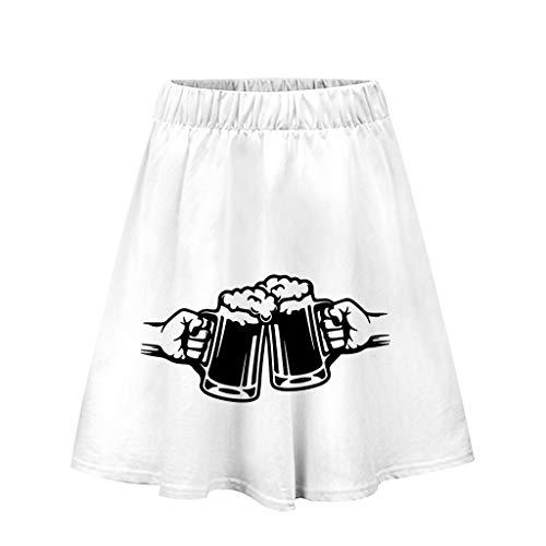 holitie Damen 3D-Druck Einfach Lässig Kurzer Rock Tavern Maiden Kostüm Dirndl Damen Partykleid (Verkauf Renaissance-mieder Für)