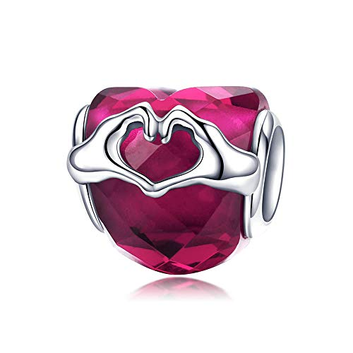 9e915bc4c1bb Pink Love Hands 925 Sterling Silber Love Tokens Love Hand Herz CZ Beads Fit  Charm Armbänder