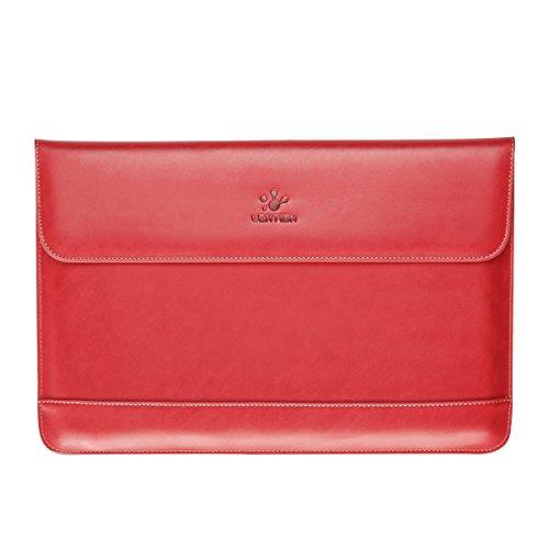 Lention Split Ledertasche für MacBook Air 11 / MacBook 12 / Surface Pro/Samsung/HP/Asus/Acer, Premium Tragetasche mit magnetischen Snaps für 11-12 Zoll Laptops und Tablets (Rot)