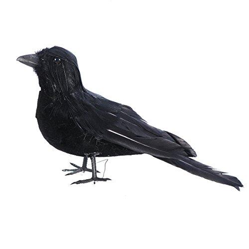 Amosfun Stimulierte Halloween Dekoration Realistische Crow Prop Black Gefiederten Vogel Halloween Geschenke für Freunde (Dekorationen Black Crow)