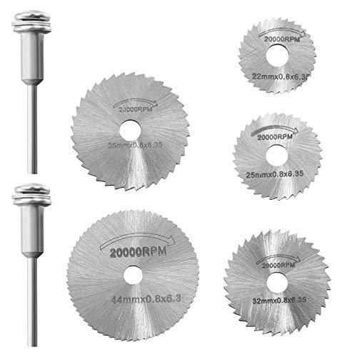 Hemobllo 7pcs / set Mini HSS hoja de sierra circular herramienta rotativa para Dremel Metal Cutter conjunto...