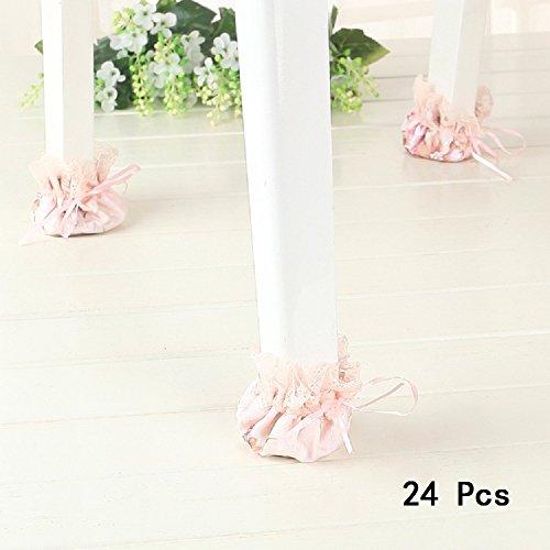 Doptou 24Stuhl Socken Fußboden Möbel Tisch Stuhl Bein Füße Protektoren Umfasst die Kappen Geeignet für Durchmesser 5,1cm, Schöne Blume Form (Light Pink)