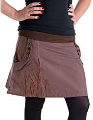 Vishes - Alternative Bekleidung – Bedruckter und bestickter Baumwollrock mit Blumen