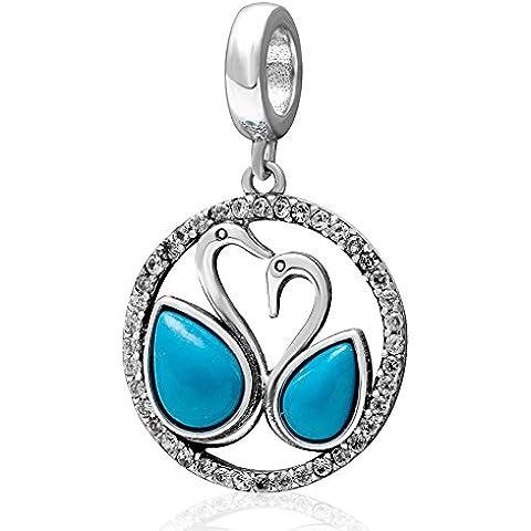 Soulbead Couple Love cigno Ciondolo con turchese naturale Zirconia Cubica Argento Sterling 925Dangle Bead braccialetto o collana per Donna - Una Collana Simboleggia
