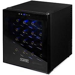 Klarstein Minibar - Cave à vin réfrigérée, 16 bouteilles, Volume 48L, Châssis entièrement noir, Porte teintée, LED bleues, 4 étagères chromées, Touchpad, Noir