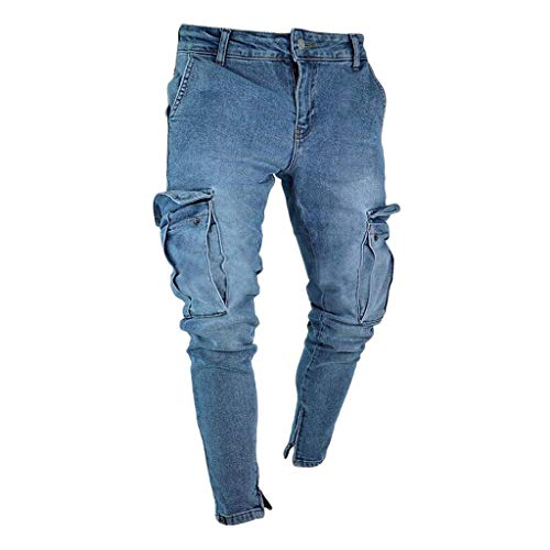 4dee44d57106 Fannyfuny Mode Herren Destroyed Jeans-Hose mit Taschen Reißverschluss  Herren Slim Fit Jeans Denim Used Look Mit Destroyed-Optik Teen Jungen Party  ...